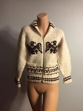 VINTAGE COWICHAN HEAVY WOOL NATIVE SWEATER HAND KNIT THUNDER BIRD MOTIF SMALL