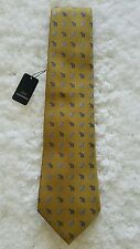 Men's Jim Thompson Elephants Gold and Blue Silk Neck tie Made in Thailand