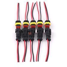 5 Pack 2 Pin 2 Way Car Boat Waterproof Electrical Connectors Plug Wire WG Marine