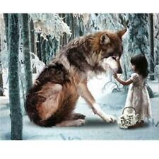 DIY 5D Diamond Painting Wolf and Little Girl Embroidery Cross Stitch Home Decor