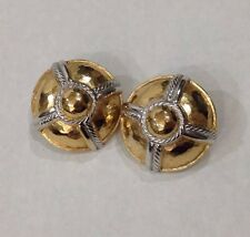 Vintage Givenchy Clip Earrings Hammered Gold Tone Silver Rope Signed Givenchy