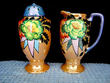 873 Trico Nogoya japan lusterware berry muffineer creamer & sugar shaker 1930.