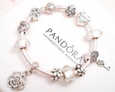 Authentic Pandora Silver Bangle Bracelet with White Love European charms.