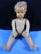 orginale Stoffkörper Puppe mit geschnitztem Holzkopf, wohl 20-30er Jahre, Echtha