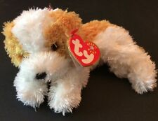 Ty Beanie Babies Darling Puppy Dog White Tan Stuffed Plush 2001 Has Hang Tag