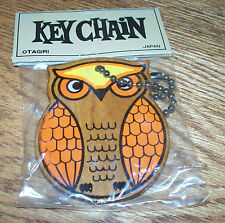 Vintage Otagiri Wooden Owl Key Chain Collectible new old stock in package 70s