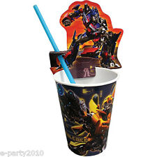 TRANSFORMERS CUP CLIPS and STRAWS (4) ~ Birthday Party Supplies Tableware Drink