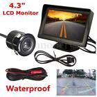 4.3'' LCD Car Rear View Backup Monitor + Parking Mirror Night Vision Camera Kit
