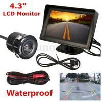 4.3'' LCD Car Rear View Backup Monitor + Parking Mirror Night Vision Camera Kit