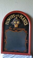 """Solid Wooden Flower & Plants Plaque Sign Hand Painted 23 x 15"""""""