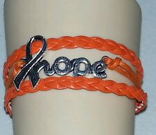 KIDNEY & LUKEMIA AWARENESS,HOPE RIBBON,LEATHER CHARM BRACELET-ORANGE#35