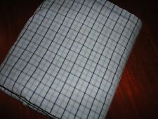 THE COMPANY STORE BLUE & WHITE PLAID TATTERSAL QUEEN FLAT SHEET BOYS COTTON