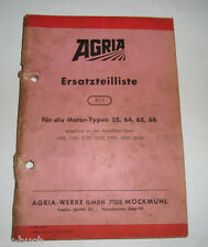 Ersatzteilliste 0/1 Agria für Motoren Typ 35 / 64 / 65 / 66  Stand 1969