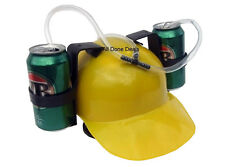Yellow 2 Can Drinking Helmet Dual Party Drink Holding Hat - Beer Coke Fits All
