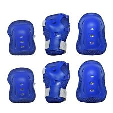 Kids Cycling Roller Ski Skate Skating KNEE ELBOW WRIST Safety Gear Pads Blue USA