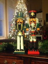African American Ethnic Black Nutcrackers, Green Drummer and Soldier (Set of 2)