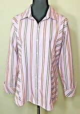 Liz Claiborne Womens Size 12 Shirt Pink Striped Button Down Non Iron Career