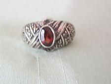 VTG STERLING 11MM WIDE RING W/ .5 CT RED TOURMALINE &  MARCASITE RING - SIZE 7.5