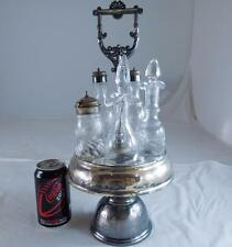 ANTIQUE VICTORIAN SILVER PLATE CRYSTAL GLASS CRUET SET CONDIMENT SALAD OLIVE OIL