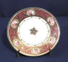 Vtg Antique Hand Painted Nippon Decorative Plate Maroon Gold + Pink Roses 8-5/8""