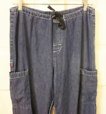 Men's Size XS Dickies Blue Denim Loose Baggy Drawstring Waist Cargo Jeans