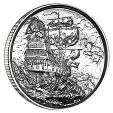 """Privateer Series """"Storm"""" Ultra High Relief 2 oz .999 Silver BU US Bullion Round"""