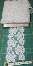 """2Y French Eyelash Lace-4.5""""W by EMIL KATz Re-embroidered w/Sequins & Pearls"""