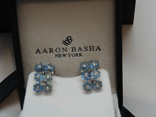 $6000 signed AARON BASHA earrings 18k white gold, diamond, & blue quartz