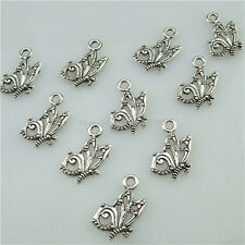 13547 100PCS Antique Silver Tone Alloy Mini Butterfly Insect Pendant Charms
