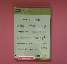 Stampin Up A DOZEN THOUGHTS because hello boy girl greetings NEW wood (160)