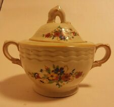 Adams ivory titian ware art deco lidded handled sugar bowl antique pottery flora