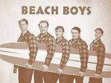 "The Beach Boys with Surfboard 11"" X 14"" Sepia Poster"