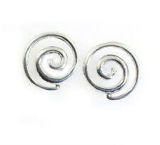 "Swirl Spiral ""New Life"" Symbol Stud Earrings Sterling Silver - Wholesale Price"