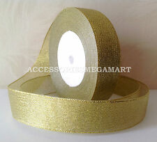 10m Metallic sparkling Gold Organza Ribbon1 inch wide 25mm for Party weddings