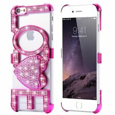 Crystal Bling Diamond Cute LOVE Girly Case Back Stand Cover  for iPhone 5 6 6s +