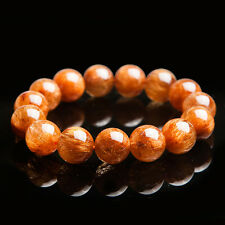 Natural Copper Hair Rutilated Quartz Crystal Round Beads Bracelet 14mm AAAA