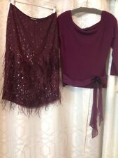 Heidi Wiesel Dress Plum Skirt With Feathers & Cashmere Top Size 6