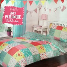 Girls Patchwork Flowers Red Yellow Green Single Duvet Cover Set Inc Fitted Sheet
