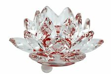 "Stunning 3.5"" Clear & Red Hue Reflect Crystal Lotus Home Decor Gift USA Seller"
