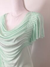 NWT Kenar Top SizeM Ruching Gathered Mint Viscose Unfinished Hem Tight Soft