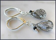 *PI*BLACK RUTILATED QUARTZ Spinel Hill Tribe Silver .925 Leverbacks! sundance