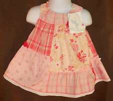 NWT $64 Peach, Pink..Floral Plaid French Designer PETIT PATAPON Dress 3-6 Months