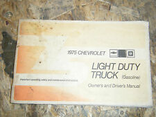1975 CHEVROLET LIGHT DUTY TRUCK GAS POWERED FACTORY OWNERS MANUAL OPERATORS BOOK