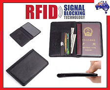 RFID Mens Womens Passport Wallet Security Lined Full Grain Cow Leather BLACK M6