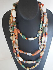 "320g 3 VTG Antique Chinese Jade Agate Carnelian Bead Necklace 50"" 26"" 16"" FC"