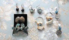 Unique Lot of Vintage Pierced Earrings  Bone, Stone, Buffalo Nickels, Teapots+
