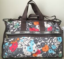 NWT LeSportsac Medium WEEKENDER BAG tote Duffle Chroma Flower Grey Blue Red $114