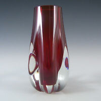 Whitefriars/Baxter Ruby Red Glass Elephant Foot Vase 9727 #2