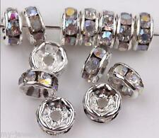 50pcs 8mm WhiteAB Charm Czech Crystal Rhinestone Silver Rondelle Spacer Beads