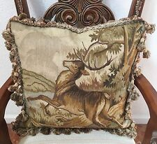 "Deer 100% Wool Needlepoint Decorative Pillows 22""x22"""